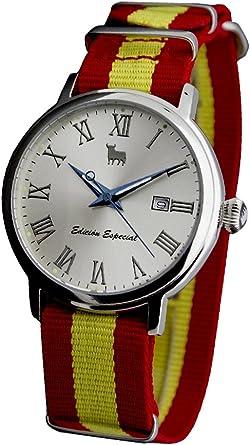 Reloj Toro Watch TO-1274, Clasico, Correa Nylon con Bandera ESPAÑOLA Completa SOLOTEMPO 3 ATM con Calendario 40 MM: Amazon.es: Relojes