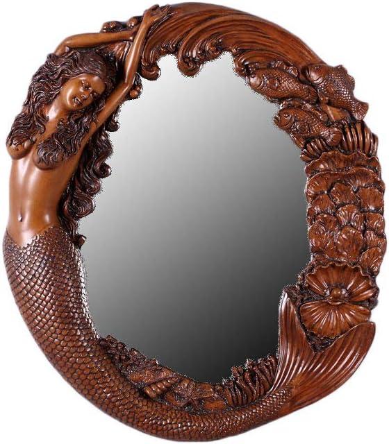 Nautical Tropical Imports Mermaid Wall Mirror Long Hair Sea Maiden and Fish Frame (Wood)