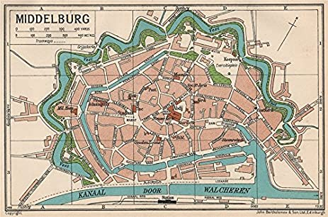 Amazoncom MIDDELBURG Vintage town city map plan Netherlands