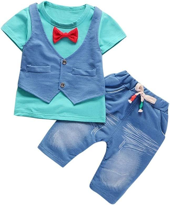 Conjunto de bebé niño de Verano pequeños Niños Bebés Trajes de Ropa Camiseta de Manga Corta + Pantalones Conjunto de Ropa de Caballero 6 Mes - 4 Años