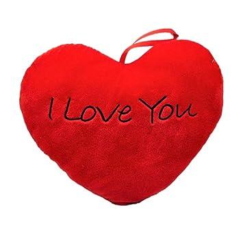 Herzkissen I love you Herz in Rot mit Aufschrift 36 x 30 cm Kissen