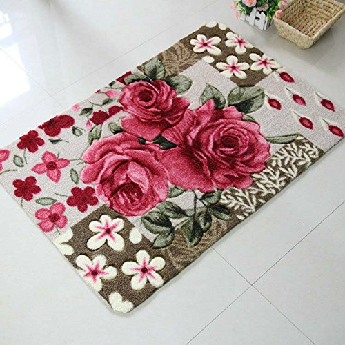 Sytian 19.68x31.49 Inch Rural Rug Rose Flower Rug Decorative Doormat Floor Mat Bath Mat Bedroom Living Room Carpet Morden Shag Area Rug Bathroom Shower Rug (Pretty Rose Flowers) ()