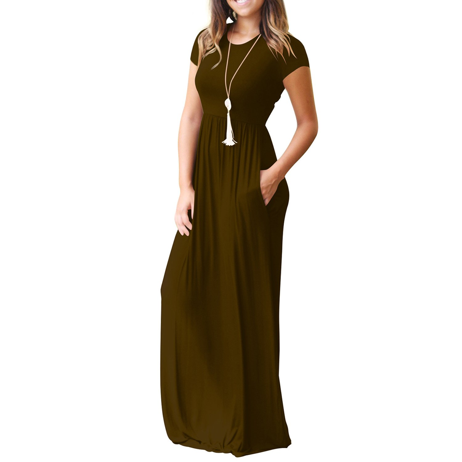 YIJIN Womens O-Neck Short Sleeve Maxi Dresses Casual Loose Long Dresses with Pockets