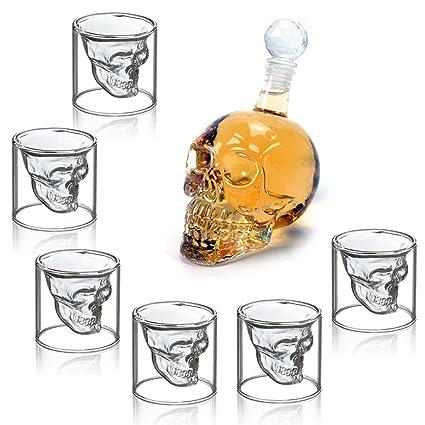 HOMFA Set de 6 vaso de cristal Vaso cerveza Vino 75ML Botella de vino Botella Cráneo
