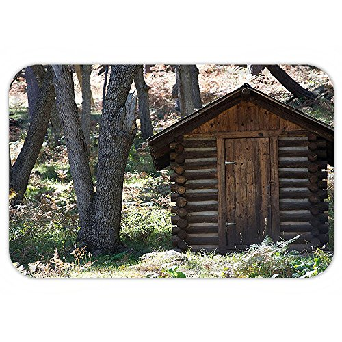 Outhouse Halloween Costumes (Kisscase Custom Door MatOuthouse Spring Wooden Seem Outhouse Cottage in Forest LeaveLumberjack Photo Dark Brown and Green)