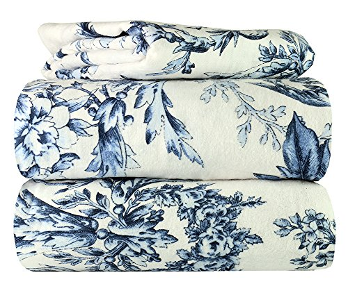 AM Home Fashion Piece 100% Soft Flannel Cotton Bed Sheet Set - Queen/King Size - Patterned Bedding Covers - 1 Flat Sheet, 1 Fitted Sheet, 2 Pillow Cases - Fade Resistant Designs, (Toile, Queen)