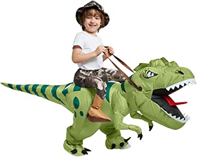 One Casa Inflatable Dinosaur Costume Riding T Rex Air Blow up Funny Fancy Dress Party Halloween Costume for Kids