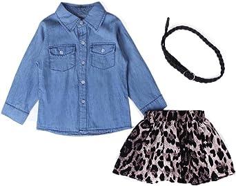 Covermason Niña Azul Camisa Vaquera y Cinturón y Leopardo Falda Corta (1 Conjunto) (7Años, Azul): Amazon.es: Ropa y accesorios