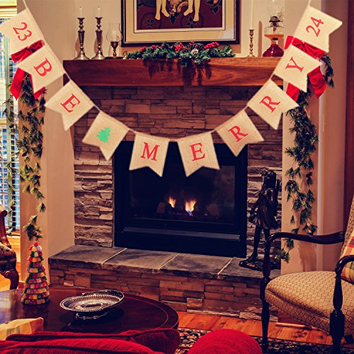 Christmas Decorations Be Merry Burlap Banner , Merry Christmas Banner, Large Jute Burlap Christmas Banner Garlands for Christmas Home Decor Xmas Party Photo Props VAG033 (Christmas Banner Photo Merry)