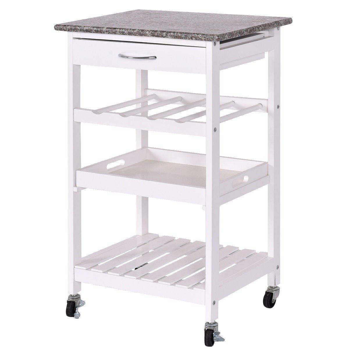 Giantex 4-Tier Rolling Wood Kitchen Trolley Island Cart Storage Shelf Drawer Wine Rack
