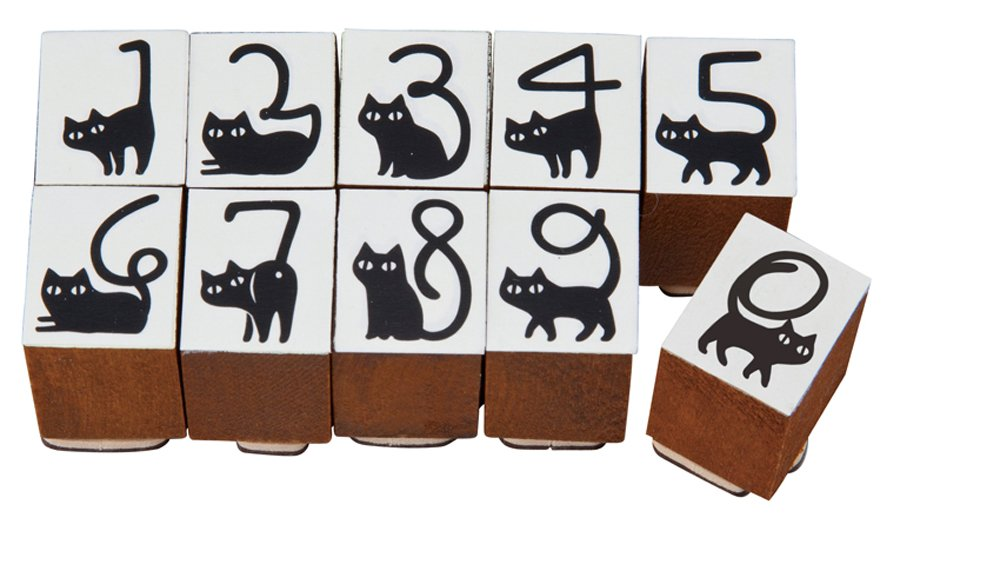 Decole Happy Cat Day Classic Rubber Cat Tail Number Stamp Set DC-ZHD-65288