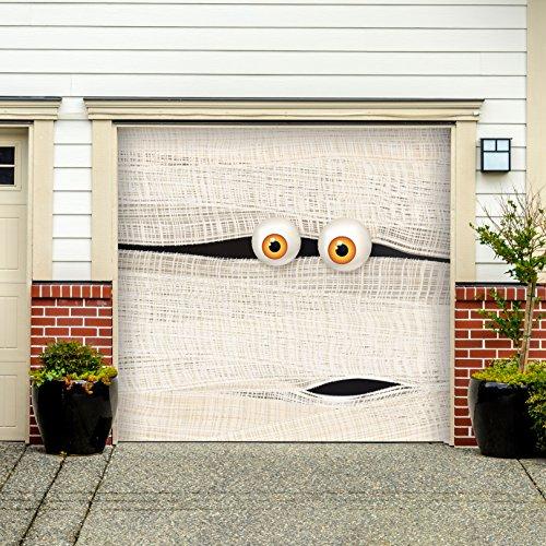 Outdoor Halloween Holiday Garage Door Banner Cover Mural Décoration - Halloween Mummy Face - Outdoor Halloween Holiday Garage Door Banner Décor Sign 7'x (Mummy Door For Halloween)