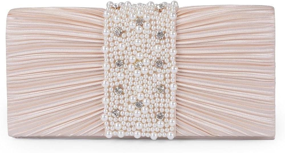 Emour Women/'s Evening Clutch Bag Stain Beaded Large Wedding Purse Bridal Prom handbag