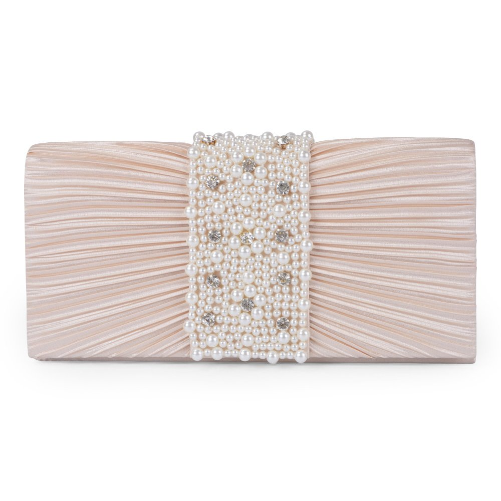 Emour Women's Evening Clutch Bag Stain Beaded Large Wedding Purse Bridal Prom handbag (champagne)