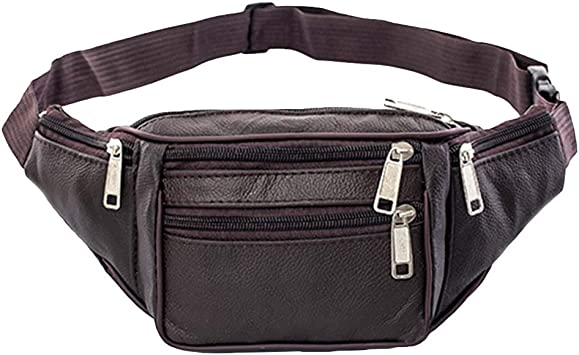 CAheadY Men Solid Color Multi Pockets Zip Faux Leather Shoulder Waist Bag Fanny Pack Coffee: Amazon.es: Deportes y aire libre