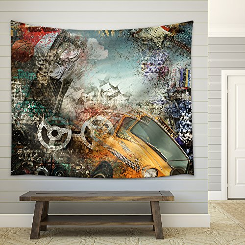 Background in the Style of Hip Hop and Grunge Fabric Wall Tapestry