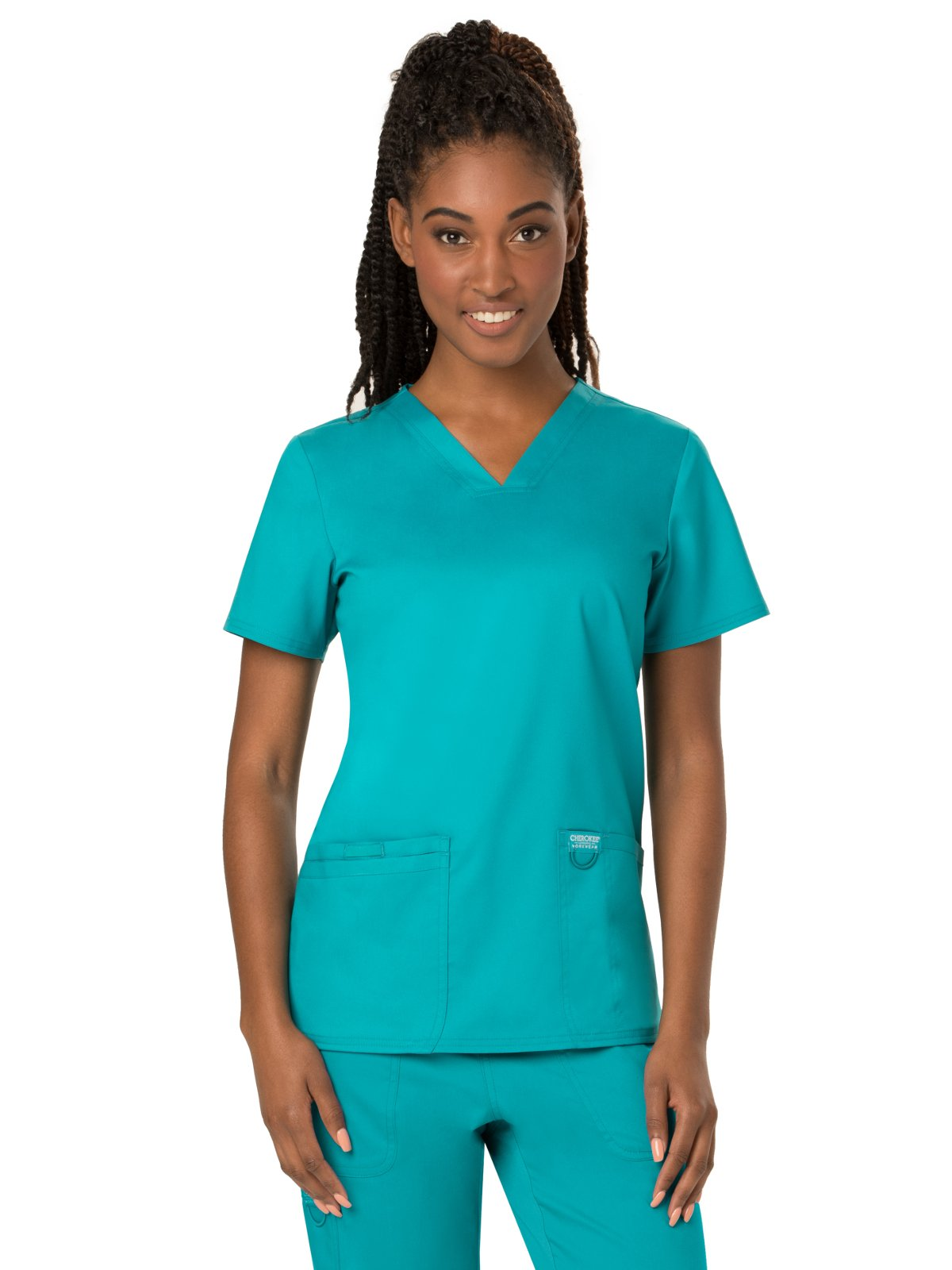 Cherokee Women's V-Neck Top, Teal Blue, XXXX-Large by Cherokee