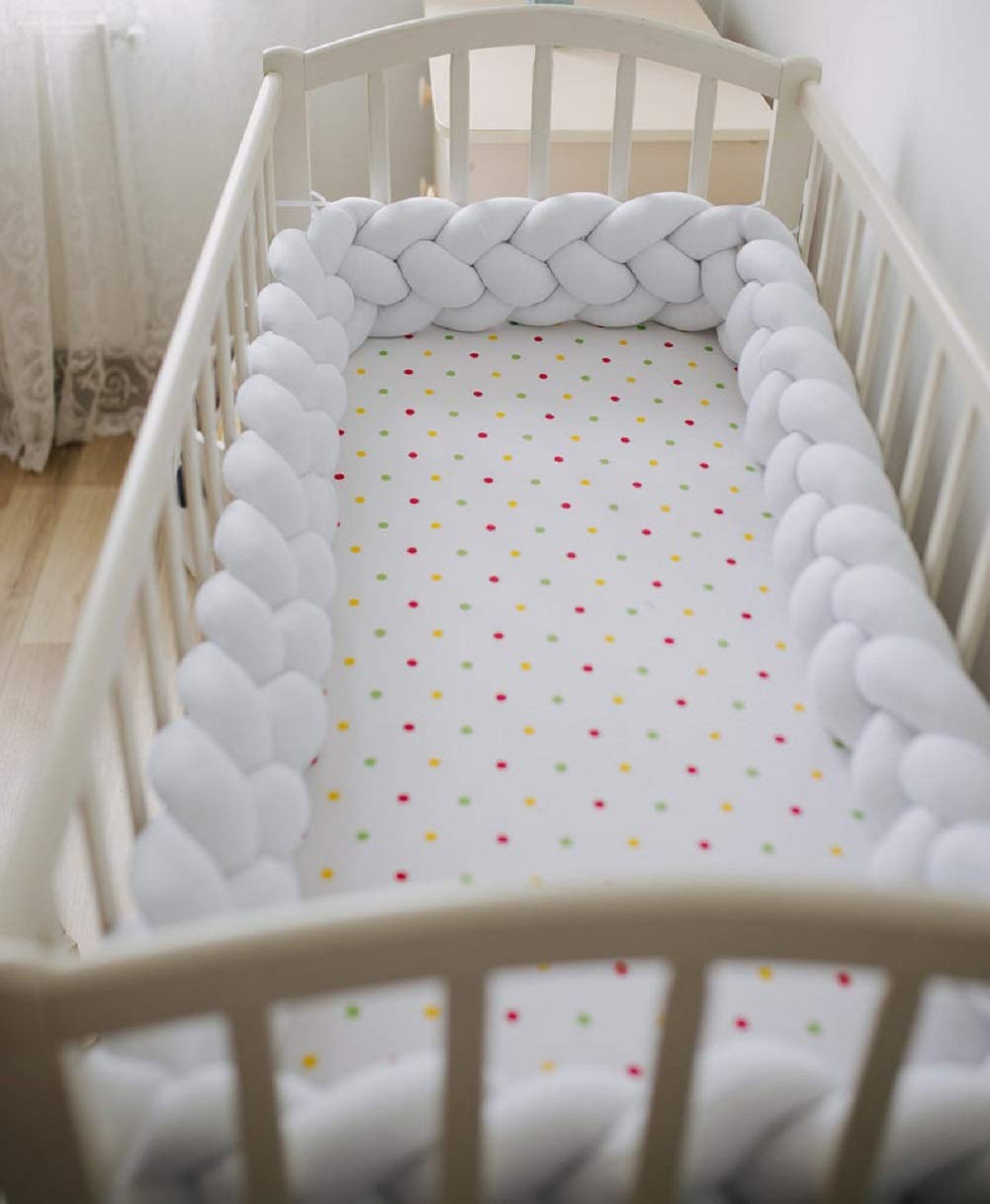 4 Strands Pink+White+Gray+Purple 156 inch Baby Crib Bumper Plush Knotted Braided Bumper Handmade Soft Knot Pillow Sleep Safety Nursery Cradle Decor Newborn Gift Crib Protector