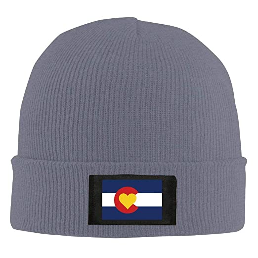 992c6afba9d Image Unavailable. Image not available for. Color  Love Heart Colorado Flag  Knit Winter Beanie Hat Skull Cap Unisex