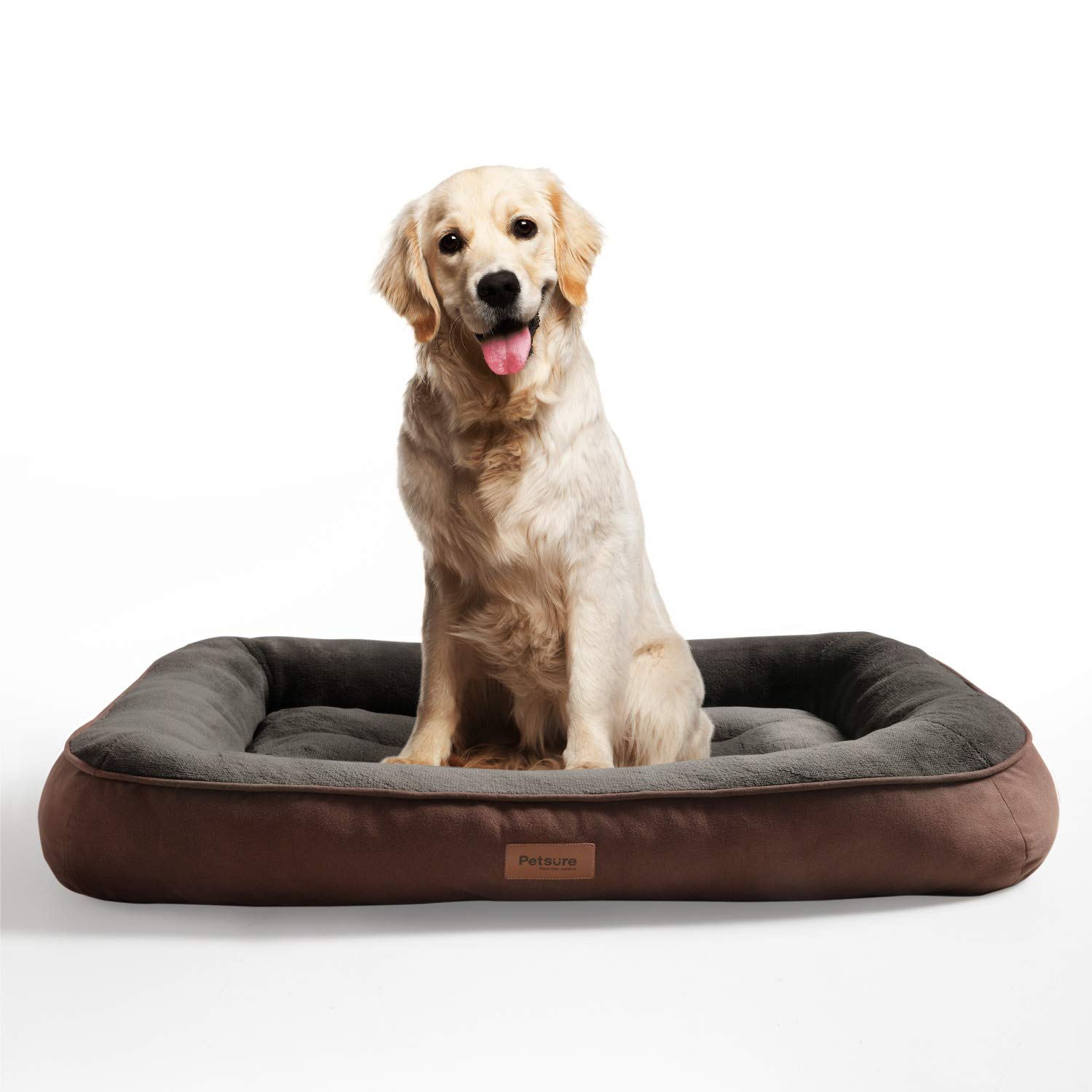 L, 36x27x7 inches Grey Low Bumper Pet Bed with Ultra-Soft Bolster Machine Washable for Small Medium Petsure Plush Dog Bed Large Dogs Up to 70 lbs