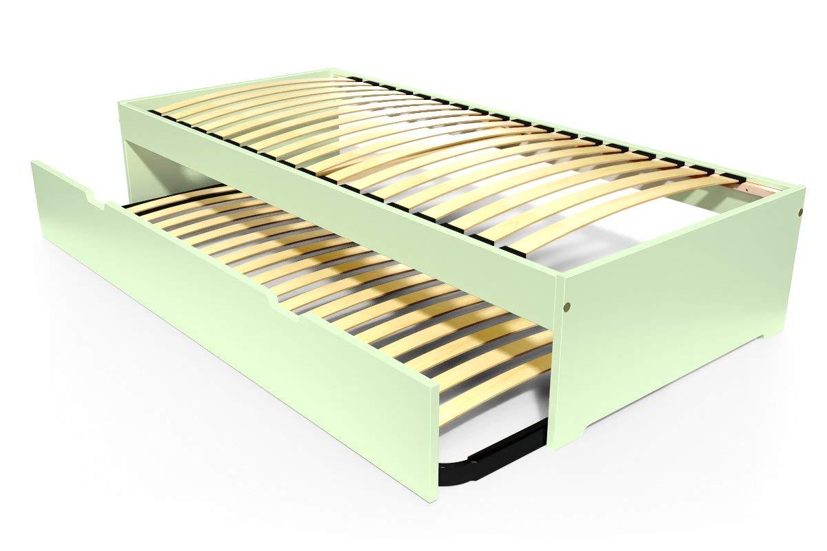 ABC MEUBLES - Ausziehbett Malo 90x190 cm Holz - TOPMALO90 - Pastellgrün, 90x190