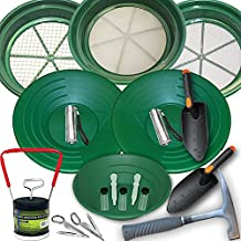 19 Piece Deluxe Gold Panning Kit with Classifiers, Tweezers, Pans, Rock Pick Hammer, and More by SE