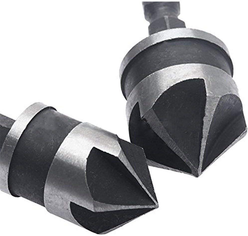 19 mm 12 mm 5 flauta de 90 grados Juego de 3 brocas de v/ástago hexagonal de 1//4 de pulgada 16 mm