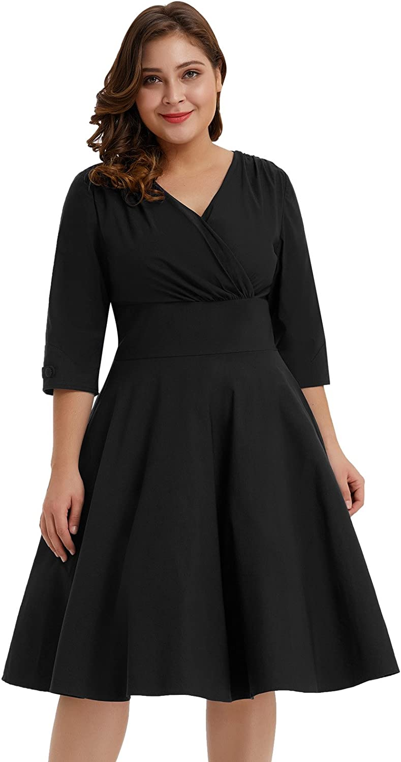 Hanna Nikole Women's Vintage 1950s Style Sleeved Plus Size Swing Dress