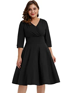 5fa02659d22 Hanna Nikole Women s Vintage 1950s Style Sleeved Plus Size Swing Dress