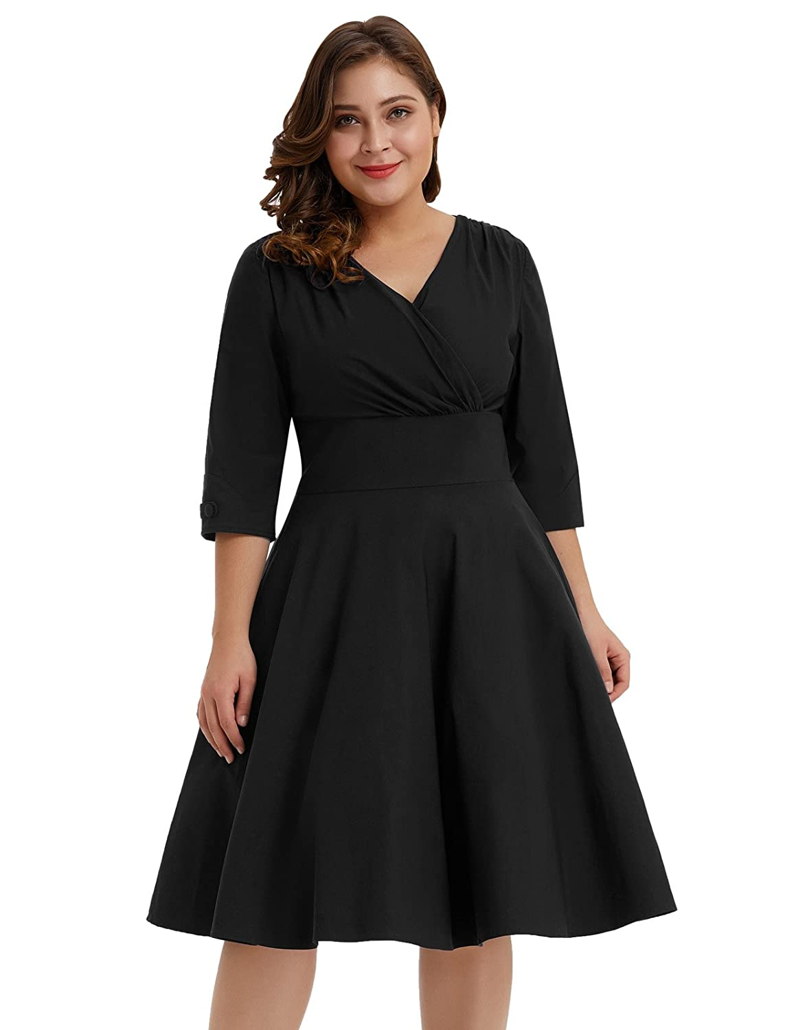 1950s Plus Size Dresses, Swing Dresses Hanna Nikole Womens Vintage 1950s Style Sleeved Plus Size Swing Dress $34.99 AT vintagedancer.com