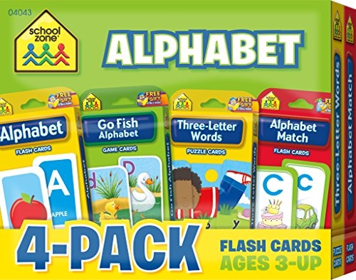 School Zone - Alphabet Flash Card 4-Pack - Ages 3 and Up, Lowercase and Uppercase Letters, Letter-Picture Recognition, Beginning Sounds, and More [School Zone Staff] (De Bolsillo)