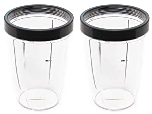 NUTRiBULLET 24-Ounce Cups with Screw-Off Lip Ring for Nutribullet Replacement Parts Fits NutriBullet 600w and Pro 900w Blender, Pack of 2