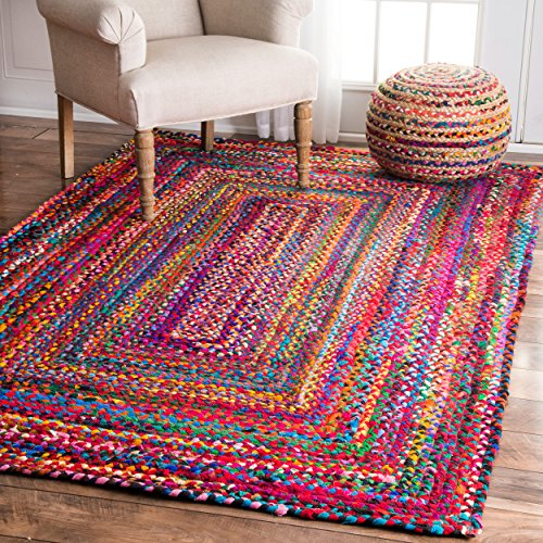 nuLOOM Hand Braided Tammara Cotton Area Rug, 5' x 8', Multi
