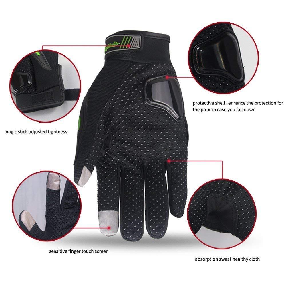 Gr/ün, XL ARTOP Motorradhandschuhe Touch Screen Anti-Rutsch Anti-Kollision Motorrad Handschuhe Sehr Guter Schutz f/ür Herren