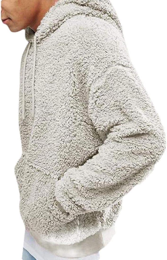 shinianlaile Mens Sherpa Fleece Hoodies Sweatshirts Fuzzy Long Sleeve Loose Winter Pullover Outerwear