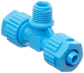 Tee Adapter Pack of 5 8 mm Tube OD x 1//8 BSPT Male x 8 mm Tube OD Tefen Fiberglass Polypropylene Compression Tube Fitting Black