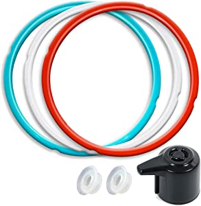 6QT Silicone Sealing Ring 3 Pack with Steam Release Valve Compatible for Instant Pot DUO and Float Valve Sealer, Savory Sky Blue & Sweet Cherry Red & Common Transparent White …