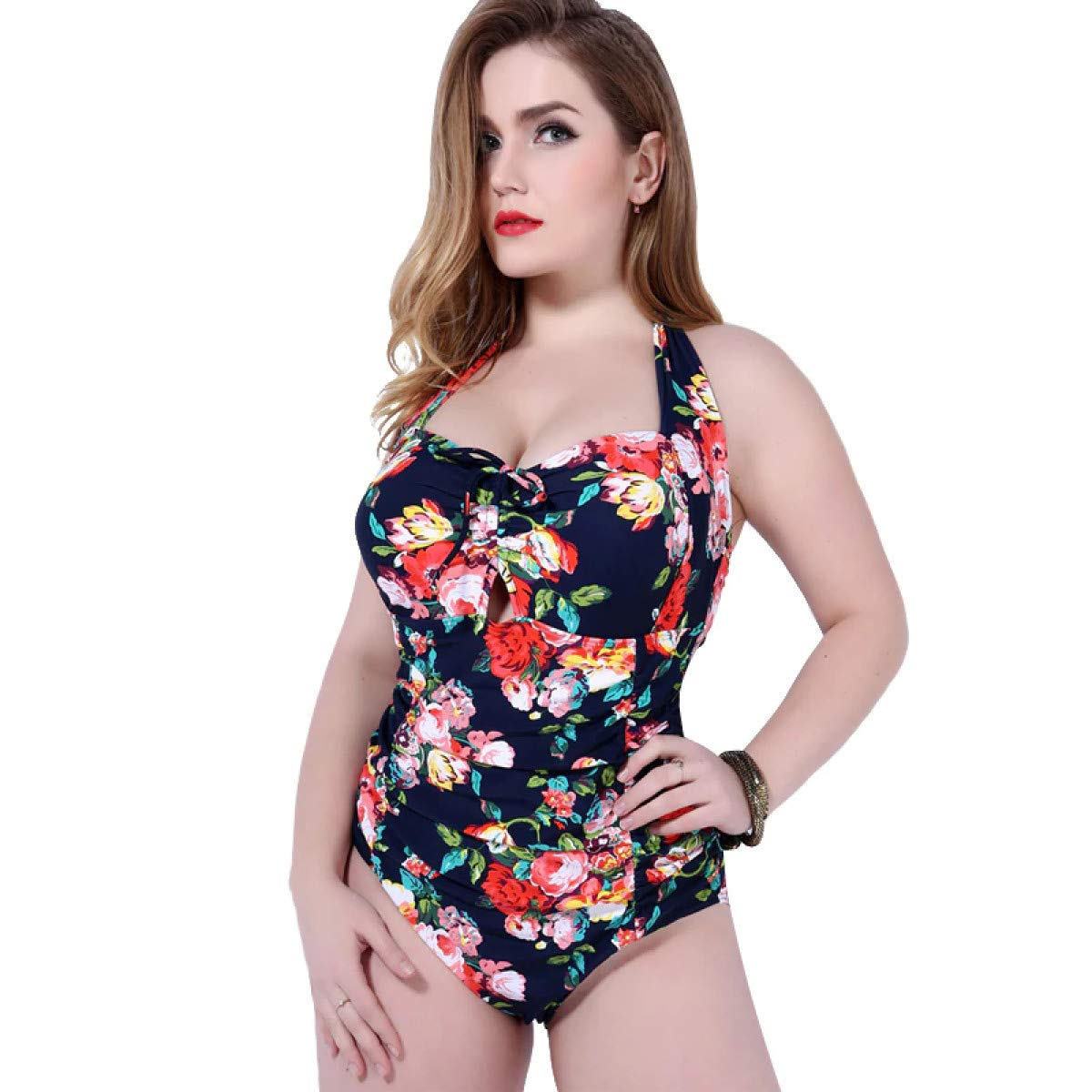 One Piece Swimsuit Floral Printed Swimwear Women Halter Top Monokini Underwire Push Up Bathing Suit Plus Size 6XL