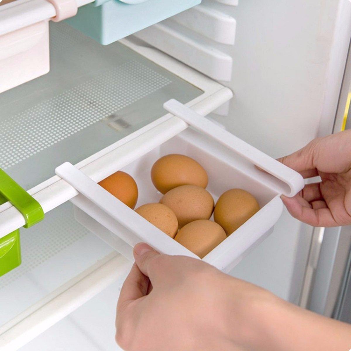 Zanasta Frigo Box Frigorifero Cucina Storage Box di stoccaggio a ripiano scorrevole | Mensola anche per Congelatore | Bianco