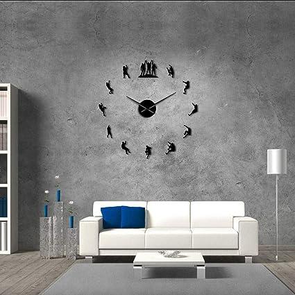 Relojes De Pared Escaladores Negros Reloj De Pared 3D Diy ...