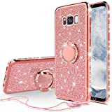 Wydan Glitter Ring Case for Galaxy S8+ / S8 Plus - Bling Slim Hybrid Kickstand Rose Gold Phone Cover for Samsung
