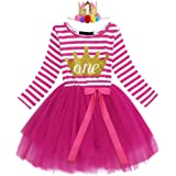 IWEMEK Baby Girls 1st/2nd/3rd Birthday Outfits Princess Cake Smash Long Sleeve Striped Tutu Dress with Shiny Crown 1-3Y