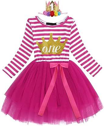 IWEMEK Baby Girls 1st/2nd/3rd Birthday Outfits Princess Cake Smash Long Sleeve Striped Tutu Dress with Shiny Crown 1-3Y