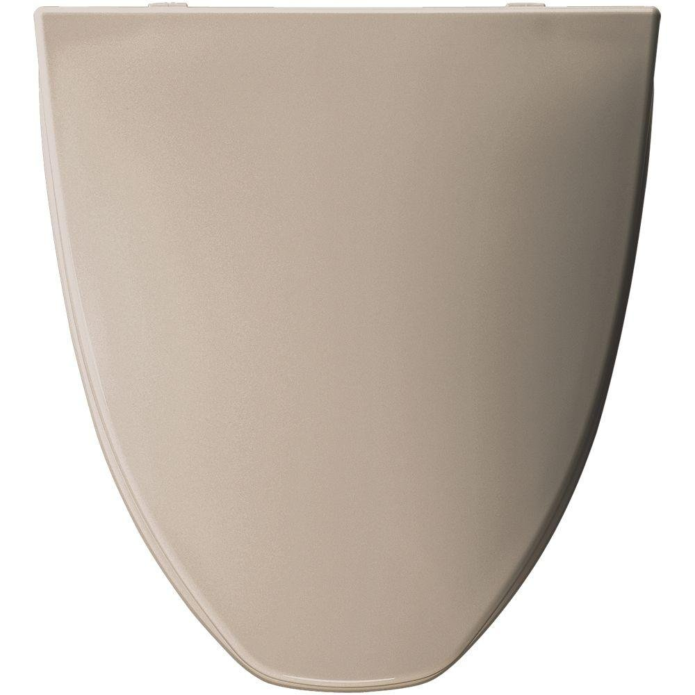Elongated Closed Front Plastic Toilet Seat with Cover, Fawn Beige