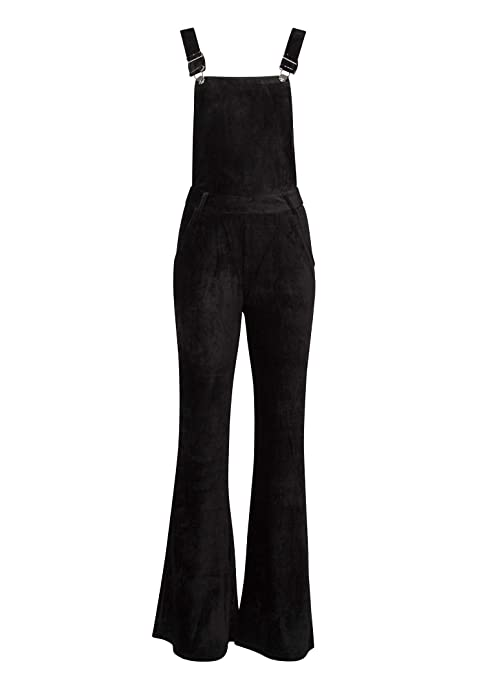 Glam And Gloria Womens Black Velvet Corduroy Flared Retro Jumpsuit Romper Overall by Glam And Gloria