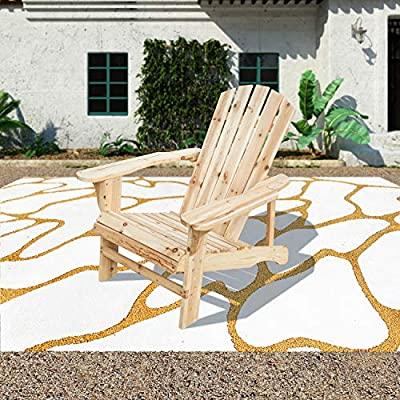 Patio Festival ® Folding Wood Adirondack Lounger Chair,Foldable Outdoor Fir Unpainted Wooden Chairs,Accent Furniture for Yard, Patio, Garden,Lawn w/Natural Finish