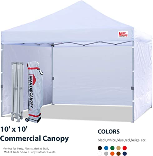 MASTERCANOPY Pop-up Canopy Tent Compact Instant Canopies with 4 Removable Side Walls and Roller Bag, Bonus 4 SandBags 10×10 FT, White