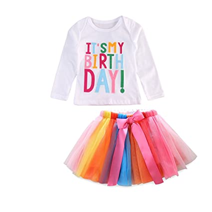 Baby Girls Toddler Its My 1st 2nd Birthday Outfit Set Kids Letter Tops T
