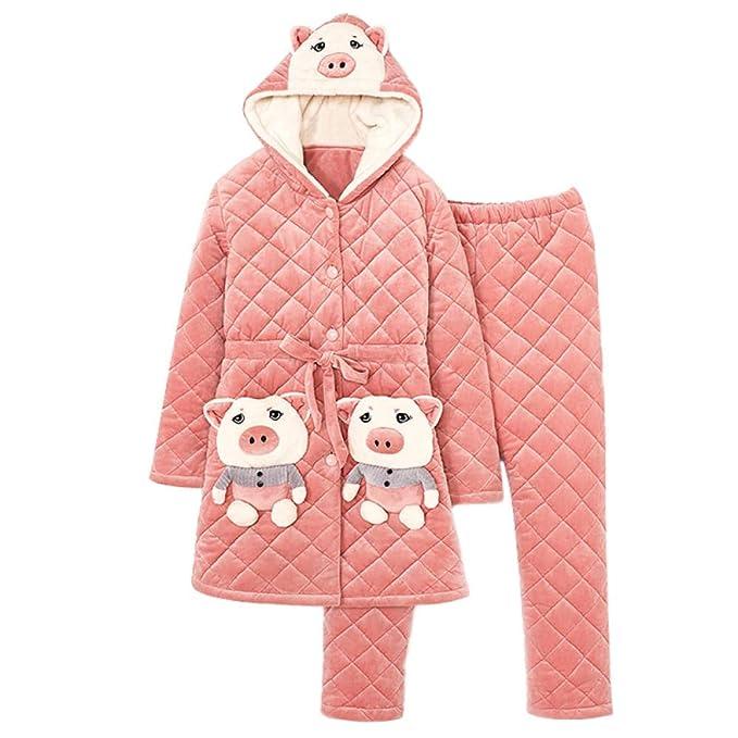Bayrick Pijama Invierno Mujer Polar,Pijama de Mujer cálido chándal ...