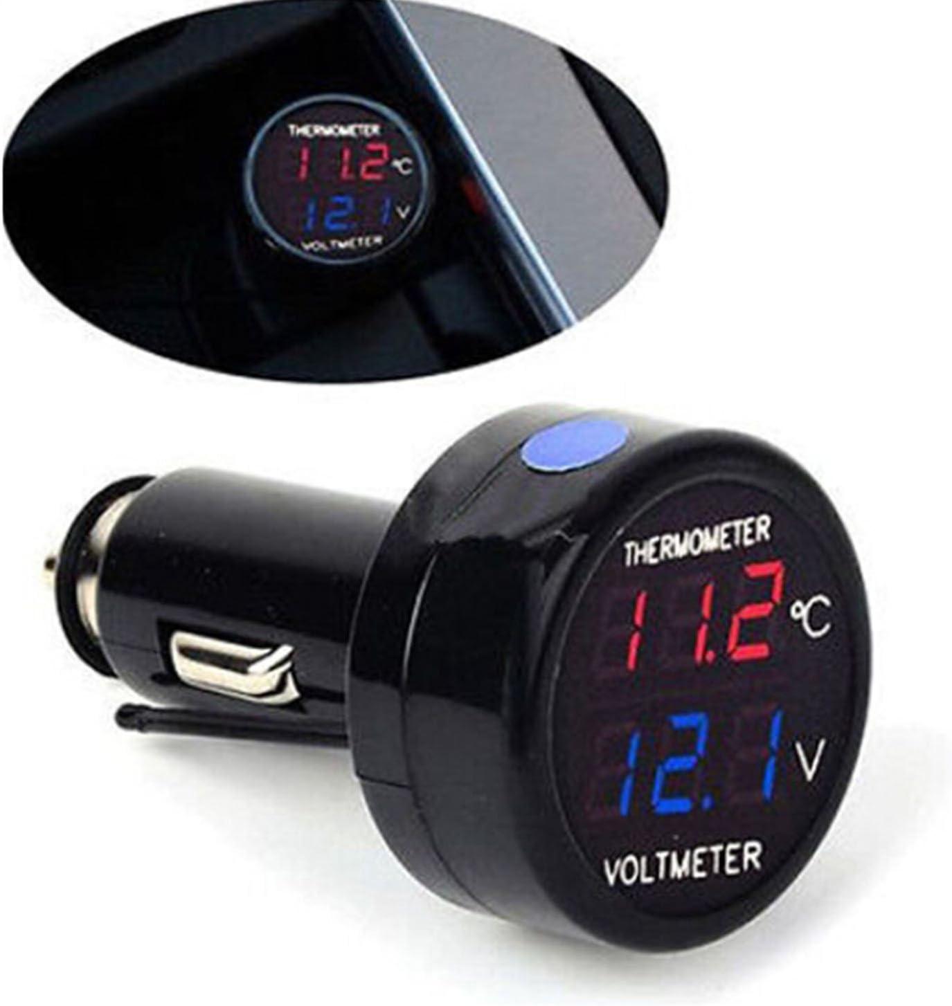 Gosear 2 in 1 auto Auto 12V rosso blu doppio Display LED digitale termometro voltmetro